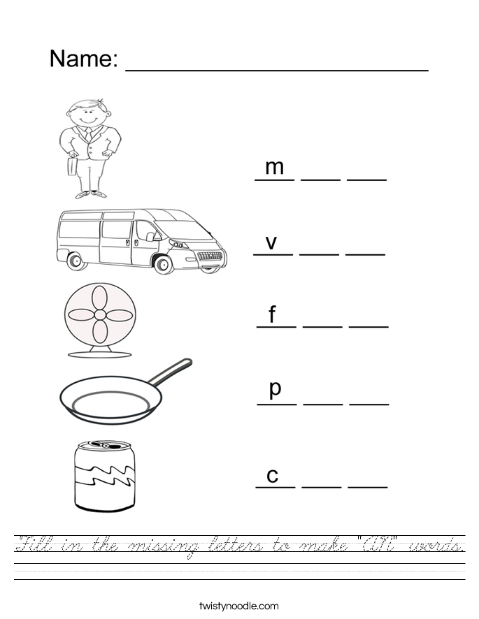 "Fill in the missing letters to make ""AN"" words. Worksheet"