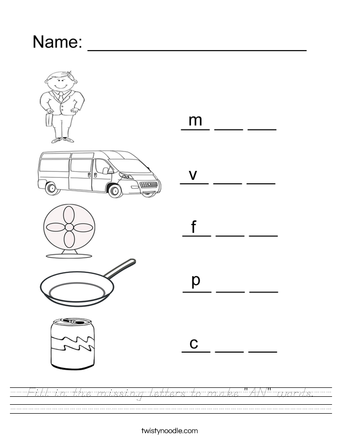 """Fill in the missing letters to make """"AN"""" words. Worksheet"""