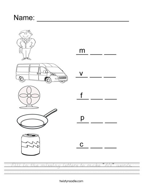 """Fill in the missing letters to make """"AN"""" Words Worksheet"""