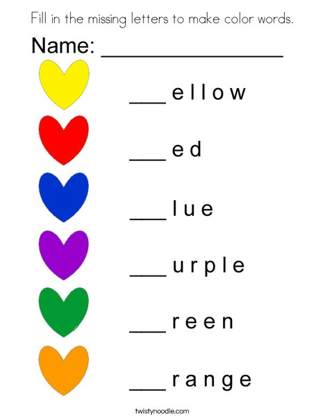 Fill in the missing letters to make color words. Coloring Page