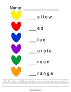 Fill in the missing letters to make color words Handwriting Sheet