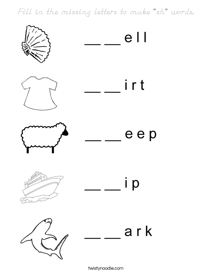 """Fill in the missing letters to make """"sh"""" words. Coloring Page"""