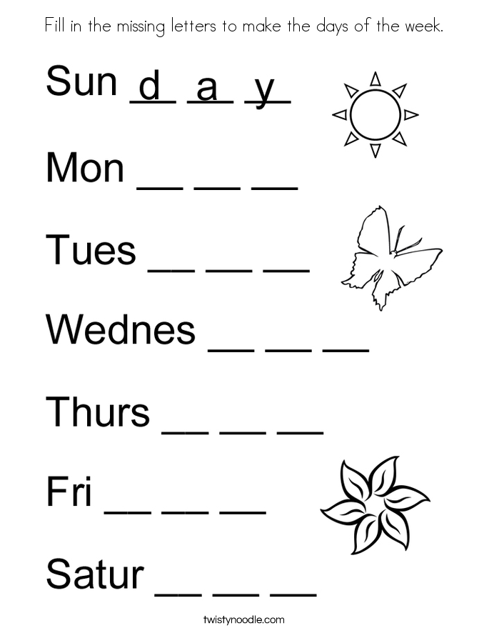 Fill in the missing letters to make the days of the week. Coloring Page