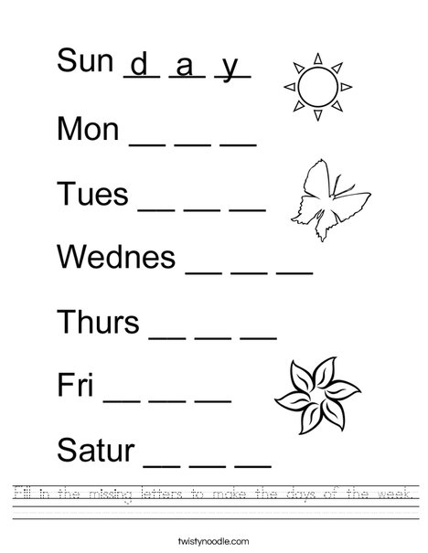 Fill In The Missing Letters To Make The Days Of The Week Worksheet - Twisty  Noodle