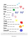 Fill in the missing letters to make the months of the year. Worksheet