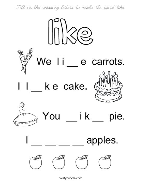 Fill in the missing letters to make the word like Coloring