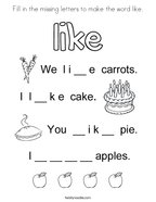 Fill in the missing letters to make the word like Coloring Page