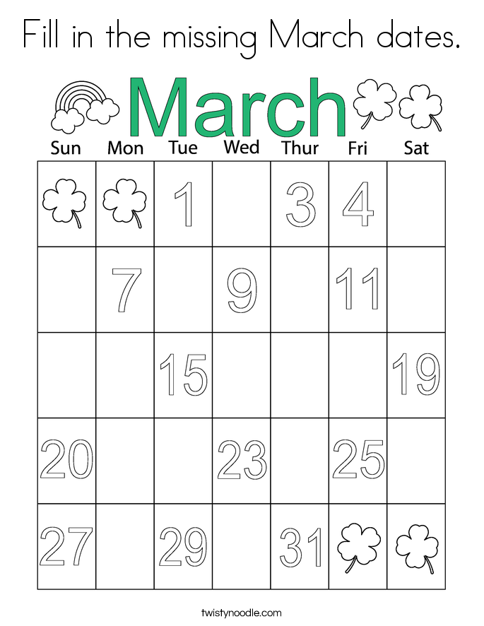 Fill in the missing March dates. Coloring Page
