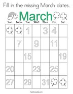 Fill in the missing March dates Coloring Page