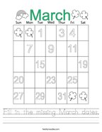 Fill in the missing March dates Handwriting Sheet