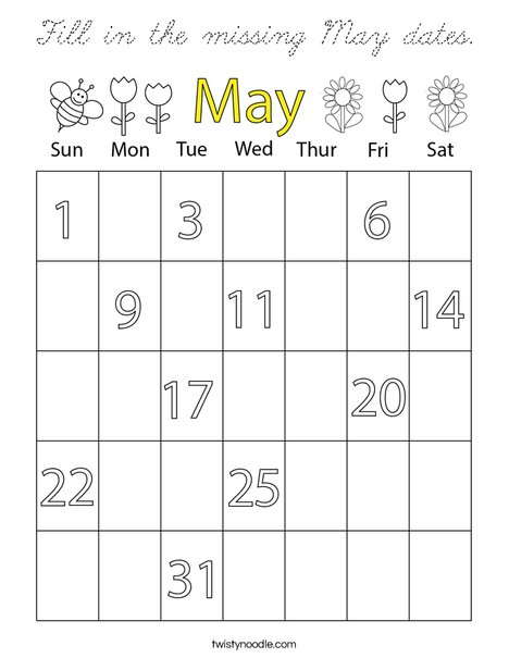 Fill in the missing May dates. Coloring Page