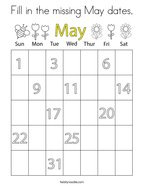 Fill in the missing May dates Coloring Page