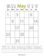 Fill in the missing May dates Handwriting Sheet