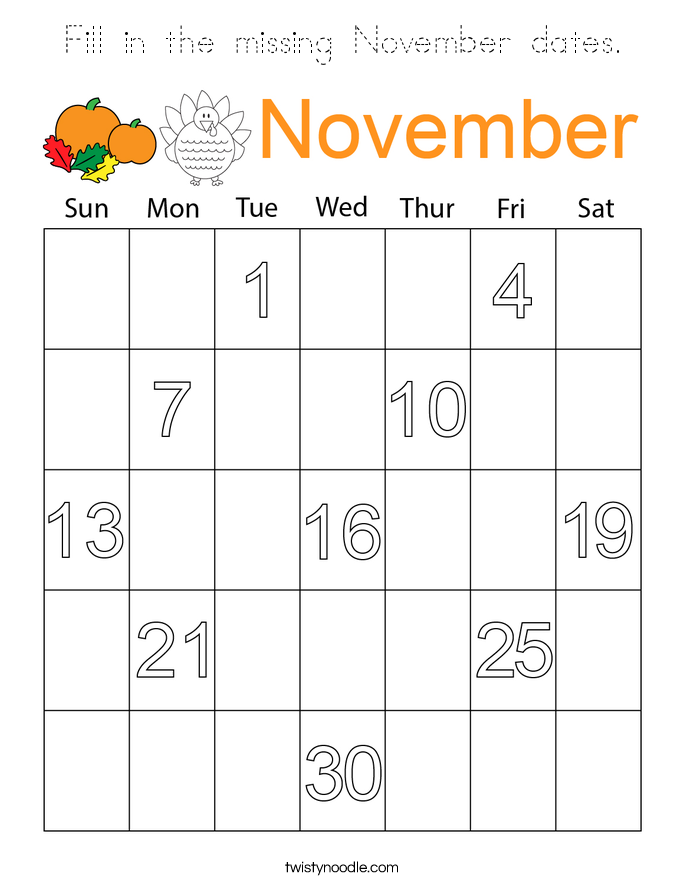 Fill in the missing November dates Coloring Page - Tracing ...