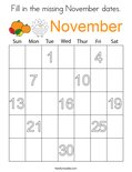 Fill in the missing November dates. Coloring Page