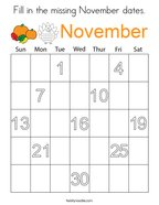 Fill in the missing November dates Coloring Page