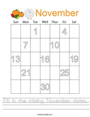 Fill in the missing November dates Handwriting Sheet