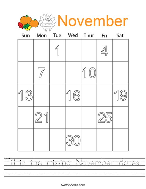 Fill in the missing November dates. Worksheet