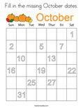 Fill in the missing October dates. Coloring Page