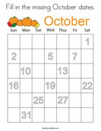 Fill in the missing October dates Coloring Page