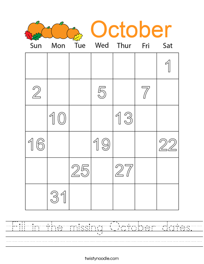 Fill in the missing October dates. Worksheet