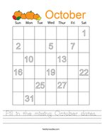 Fill in the missing October dates Handwriting Sheet