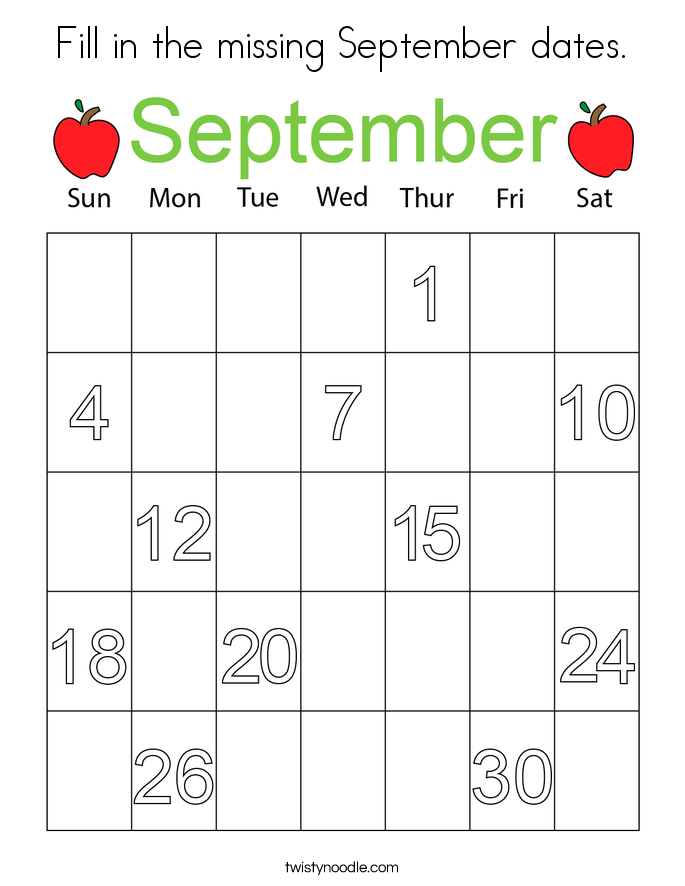 Fill in the missing September dates. Coloring Page