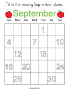 Fill in the missing September dates Coloring Page