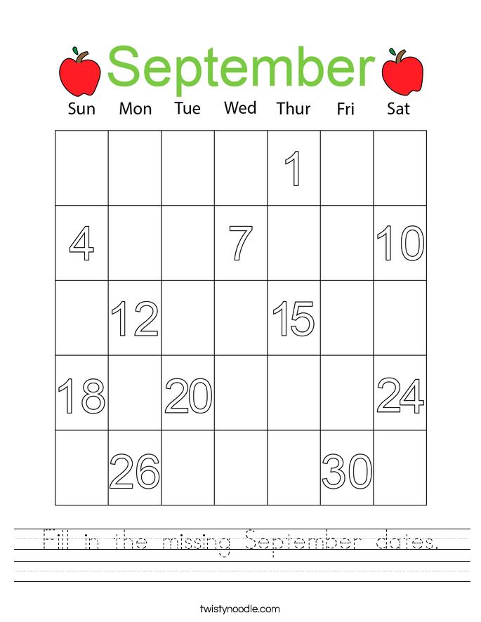 Fill in the missing September dates. Worksheet