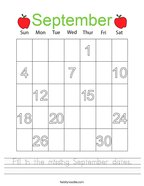 Fill in the missing September dates Handwriting Sheet