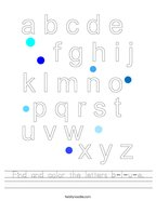 Find and color the letters b-l-u-e Handwriting Sheet