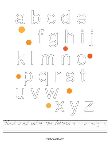 Find and color the letters o-r-a-n-g-e. Worksheet