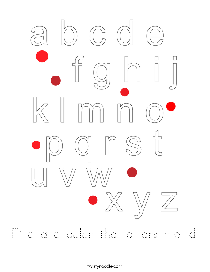 Find and color the letters r-e-d. Worksheet