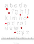 Find and color the letters r-e-d Handwriting Sheet