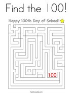Find the 100 Coloring Page