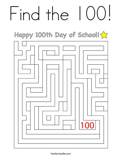 Find the 100! Coloring Page