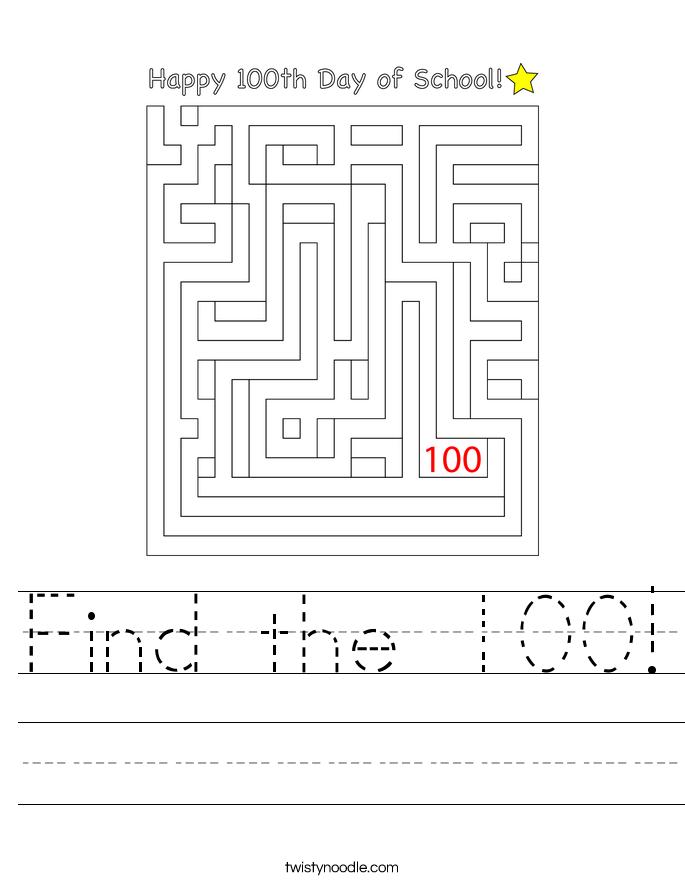 Find the 100! Worksheet