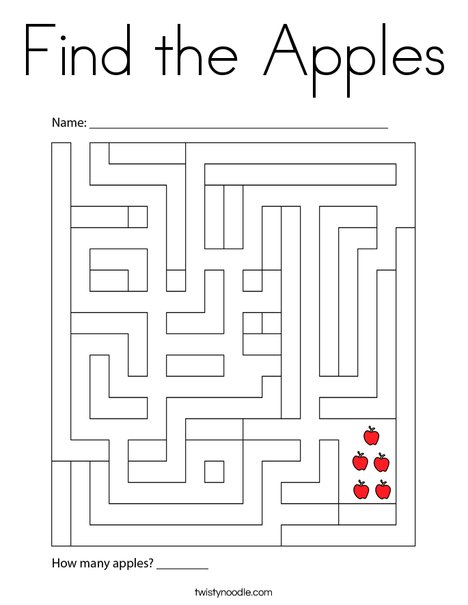 Find the Apples Coloring Page