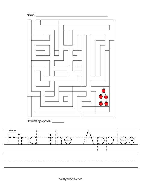 Find the Apples Worksheet