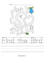 Find the Bird Handwriting Sheet