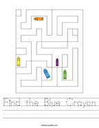 Find the Blue Crayon Handwriting Sheet
