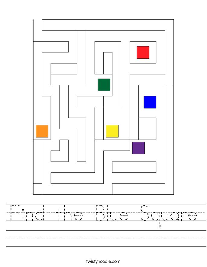 Find the Blue Square Worksheet