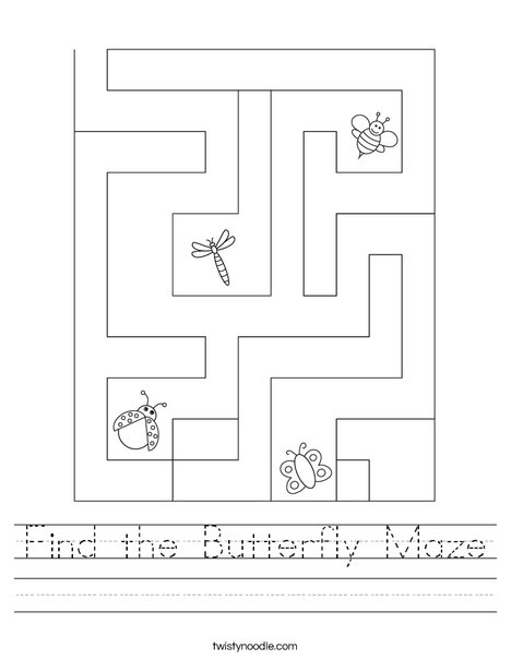 Find the Butterfly Maze Worksheet