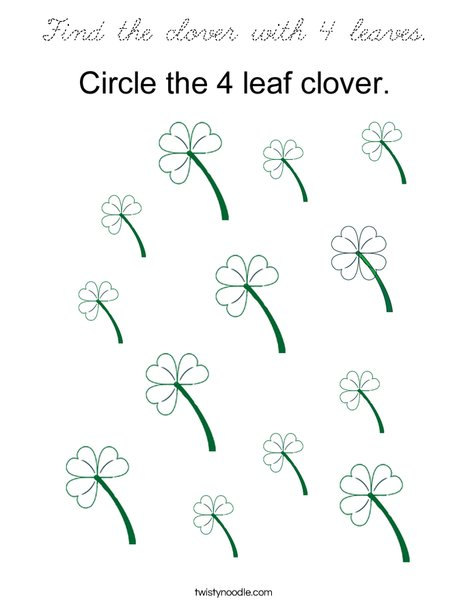 Find the clover with 4 leaves. Coloring Page