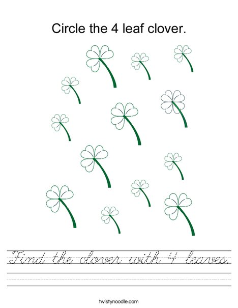 Find the clover with 4 leaves. Worksheet