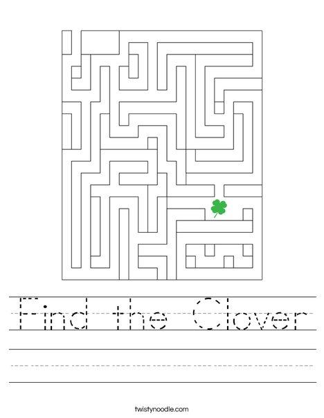 Find the Clover Worksheet