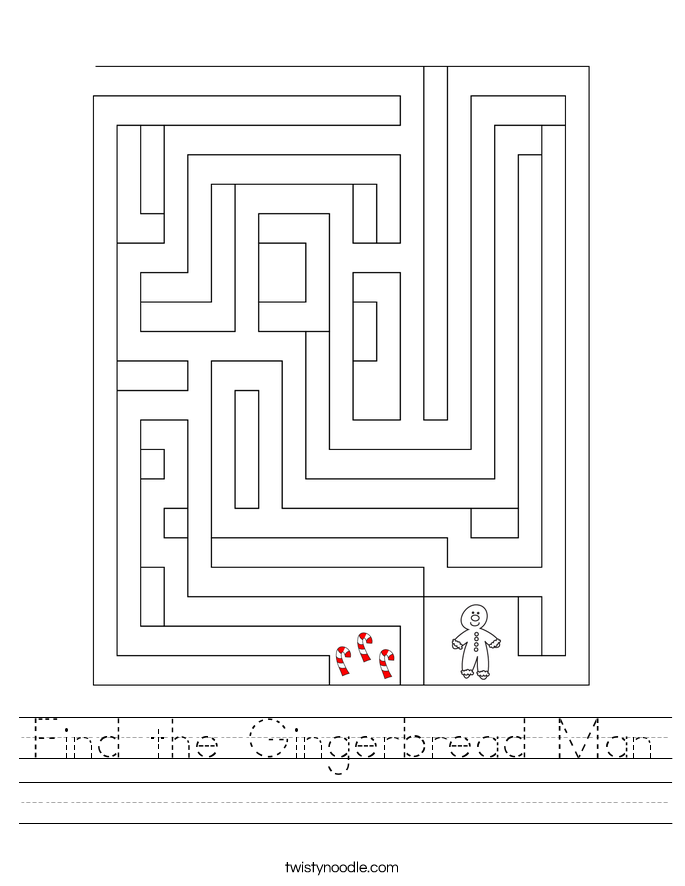 Find the Gingerbread Man Worksheet