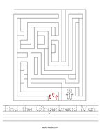 Find the Gingerbread Man Handwriting Sheet