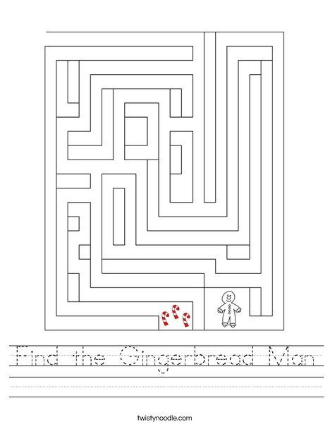 Find the Gingerbread Man Worksheet