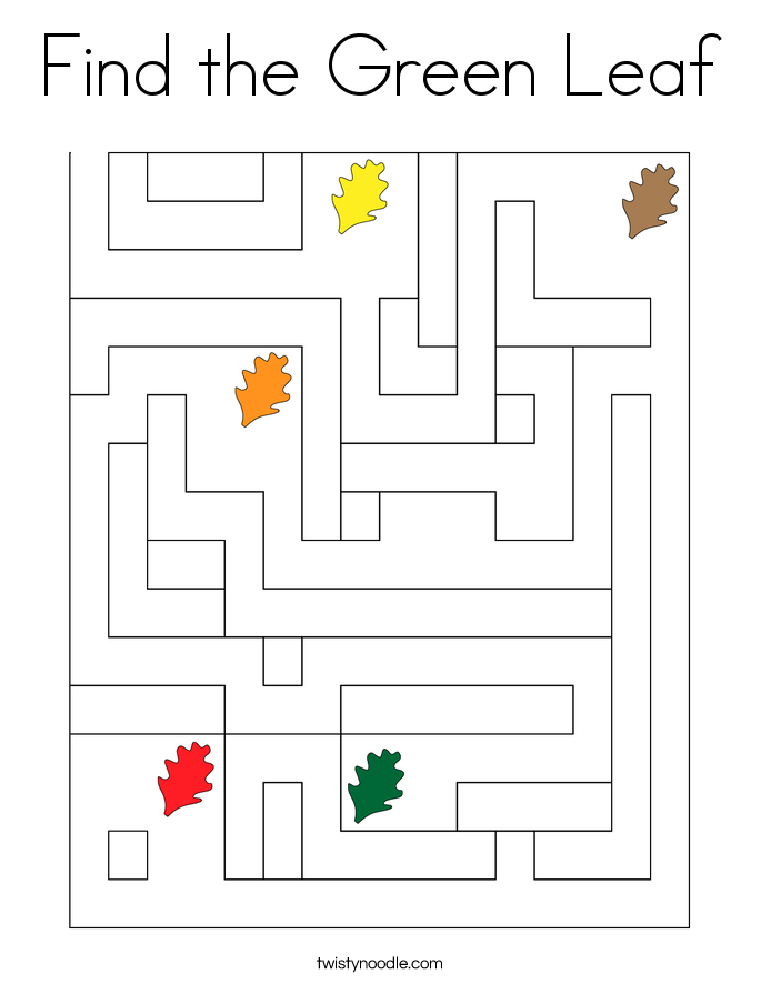 Find the Green Leaf Coloring Page